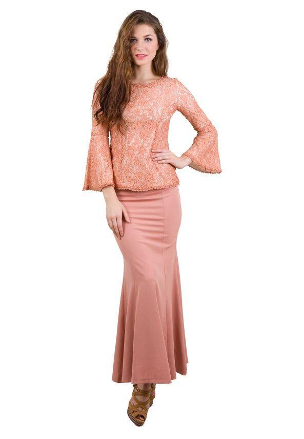 baju kurung moden flare sleeve lace vercato miranda pink lazada malaysia