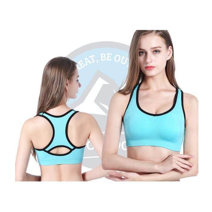 [ BEST SELLER ] Baifen Women Seamless Racerback Sports Bra Top Yoga Fitness Padded Stretch Workout - Blue