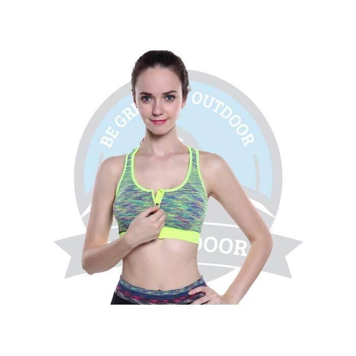 [ BEST SELLER ] Front Zipper Sports Bra Sport Gym Bra Yoga Fitness Jogging Exercise - Green