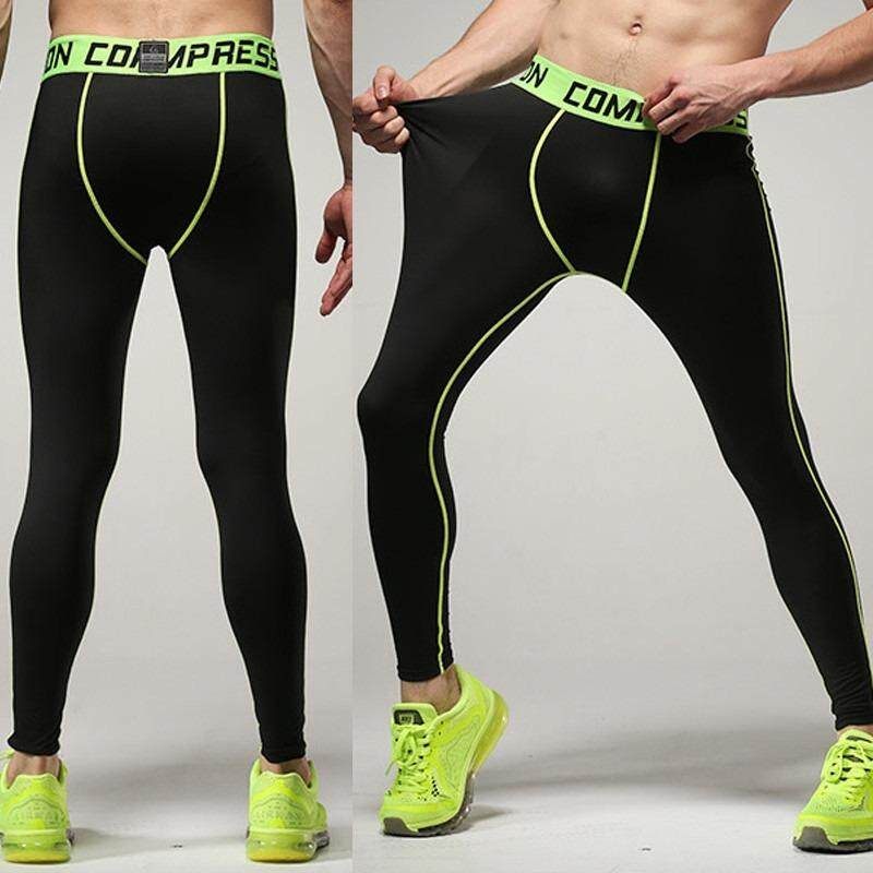 [ BEST SELLER ] Professional Men Compression Fitness Long Pants PRO Sport Quick Dry Tights Gym Bodybuilding Trousers - Light Green
