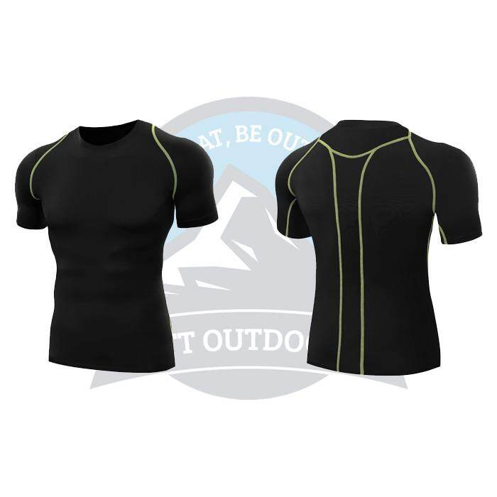 [ BEST SELLER ] QUMA Men Compression Shirt Fitness Short  Sport Quick Dry Tights Gym Bodybuilding Shirt - Black