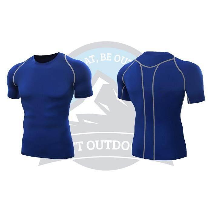 [ BEST SELLER ] QUMA Men Compression Shirt Fitness Short  Sport Quick Dry Tights Gym Bodybuilding Shirt - BLUE