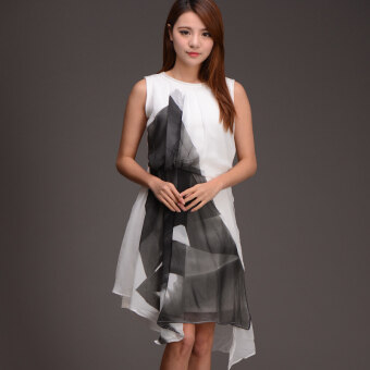 Bibi stitching chiffon New style does not rule Print dress
