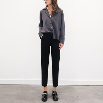 Black suit pants female straight pipe tobacco radish pants casualfeet HarLan pants spring and summer nine points Korean-style loosestudents