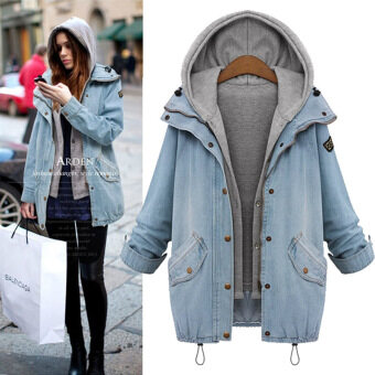 Harga Blue hooded drawstring boy friend trends Jean coat outerwear