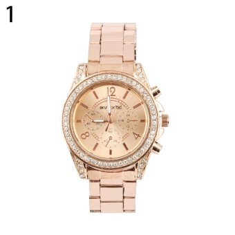 Harga Bluelans(R) Crystal Rose Gold Stainless Steel Strap Watch (Gold)
