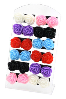 Harga Bluelans(R) Flower Earrings Set of 12 (Multicolor)