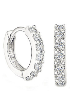 Harga Bluelans(R) Rhinestone Hoop Earrings (White)