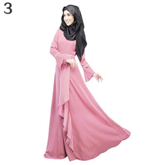 Harga Bluelans Women Ethnic Pure Color Abaya Jilbab Muslim Islamic Flouncing Maxi Dress L (Pink)
