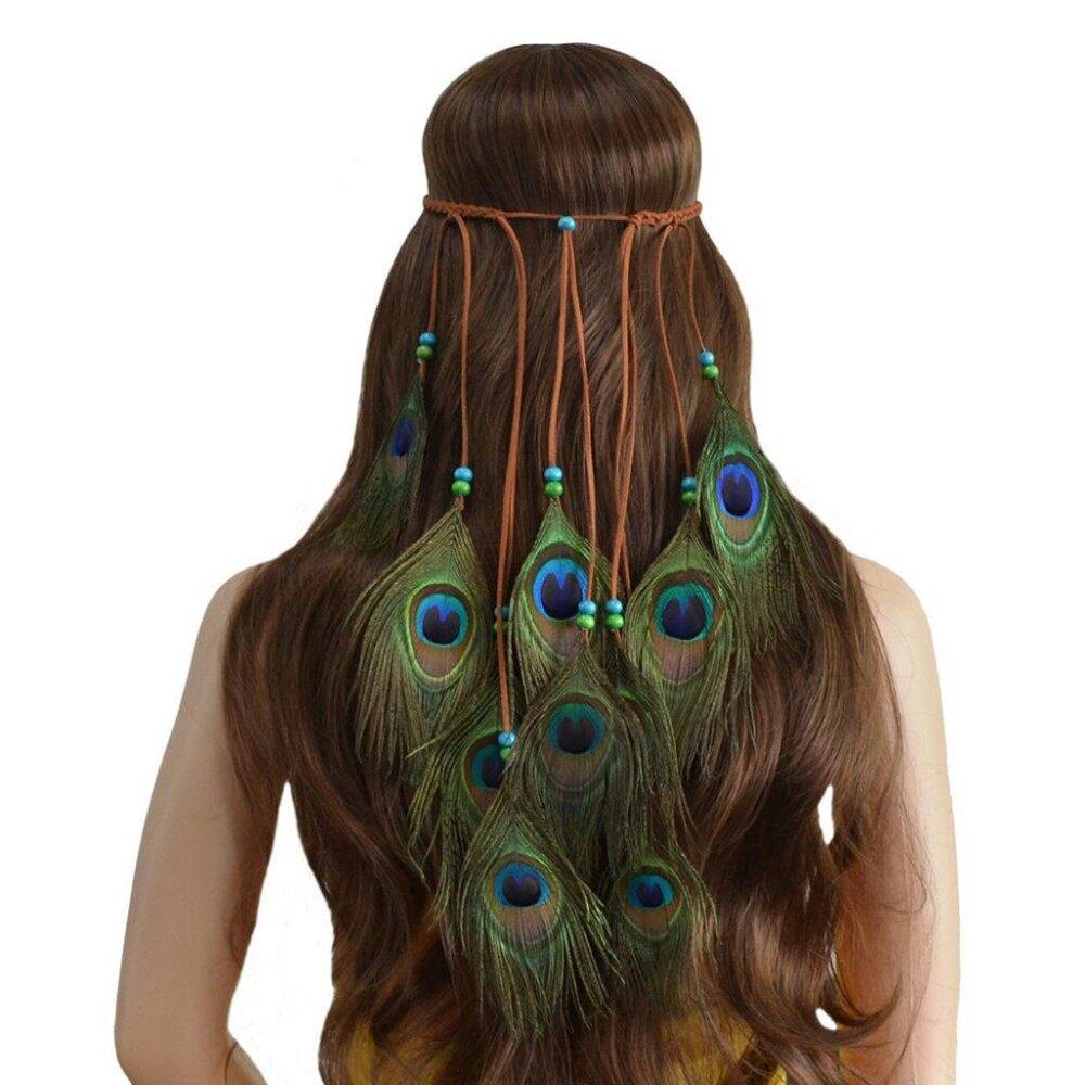 BolehDeals Handmade Ethnic Peacock Feather Headband Bohemian Boho Long Tassel Hair Accessories - intl