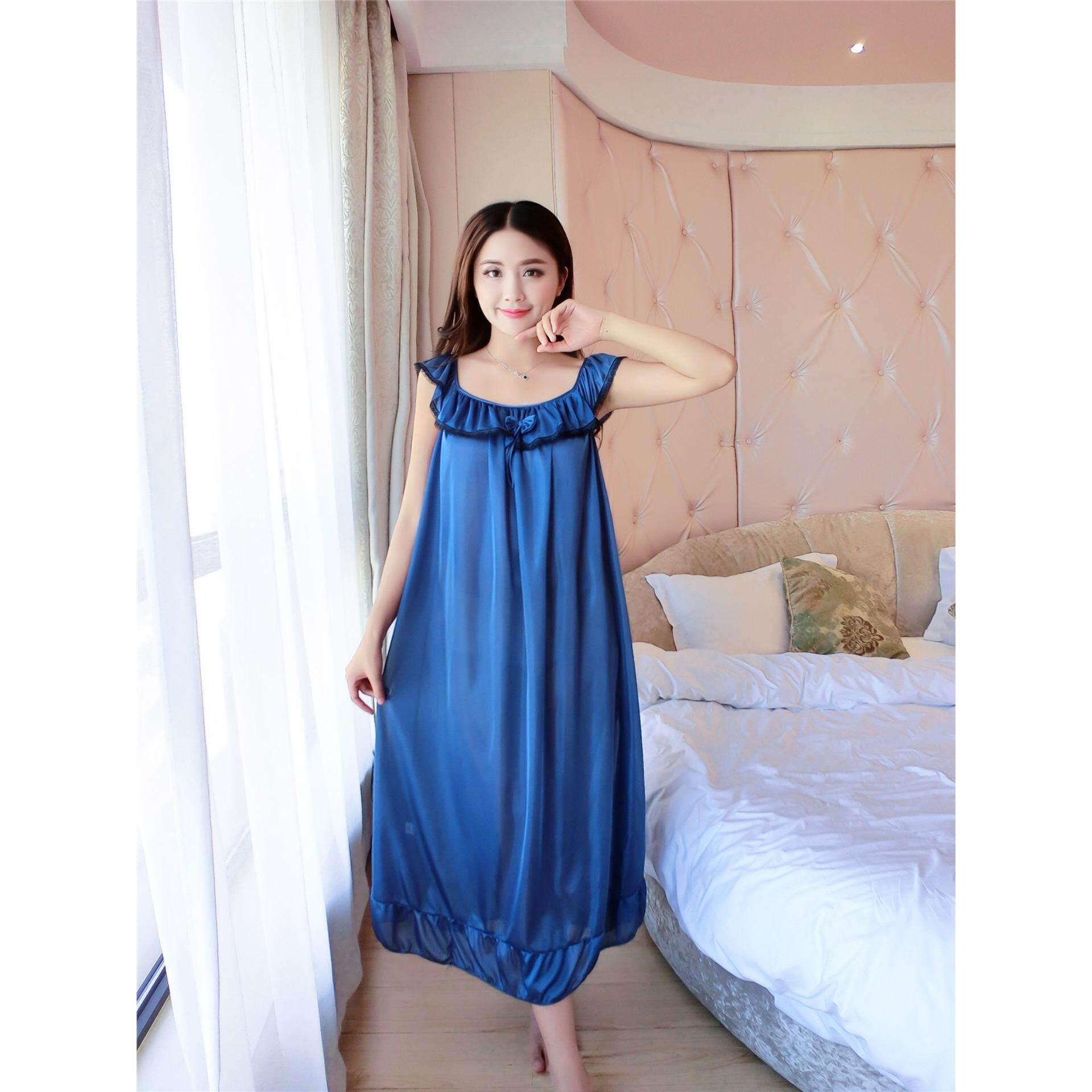 Bolster Store Ladies Women Sexy lingerie Sleepwear Short Sleeve Pajamas Long Dress Silk Comfortable Night Wear