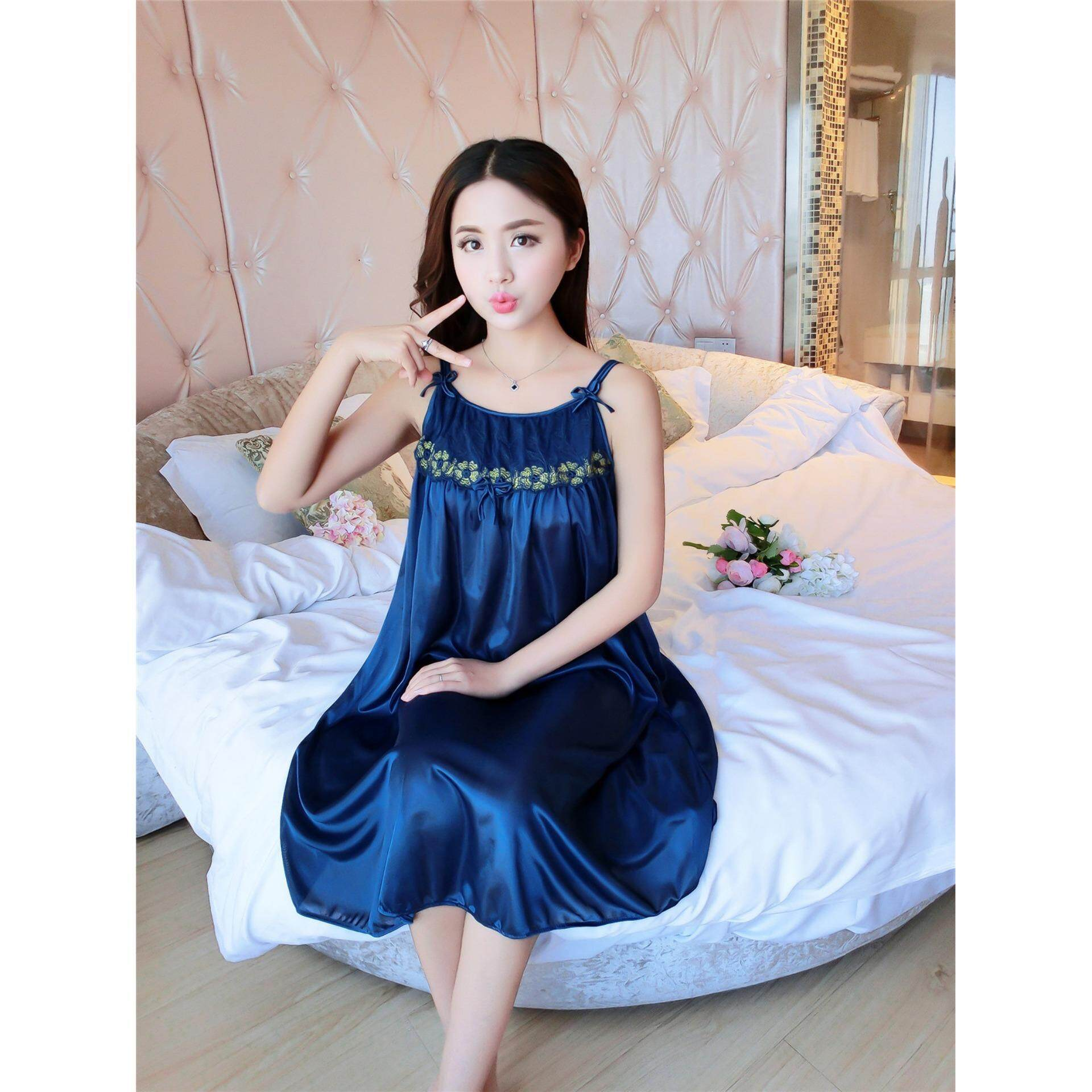 25a818090 Bolster Store Ladies Women Sexy lingerie Sleepwear Sleeveless Pajamas Long  Dress Silk Comfortable Wear (Blue