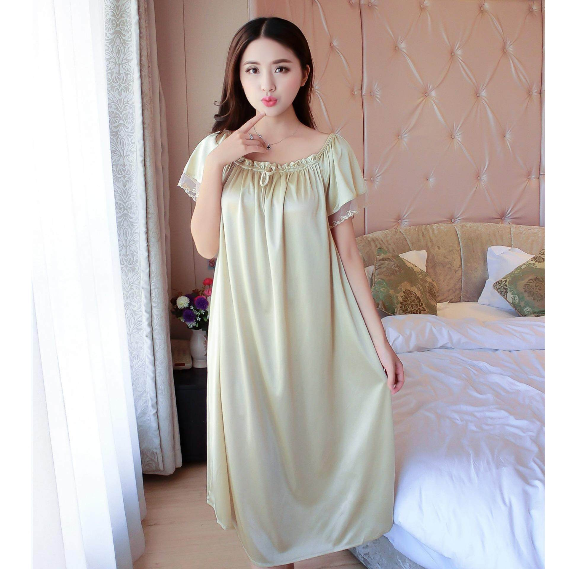 Bolster Store Ladies Women Sleepwear Sexy Lingerie Pajamas Long Dress Skirt With Sleeve Satin Comfortable Wear (Champagne)