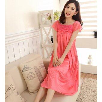2c89c3a73 Bolster Store Ladies Women Sleepwear Sexy Lingerie Pajamas Long Skirt Silk  Comfortable Wear (Peach)