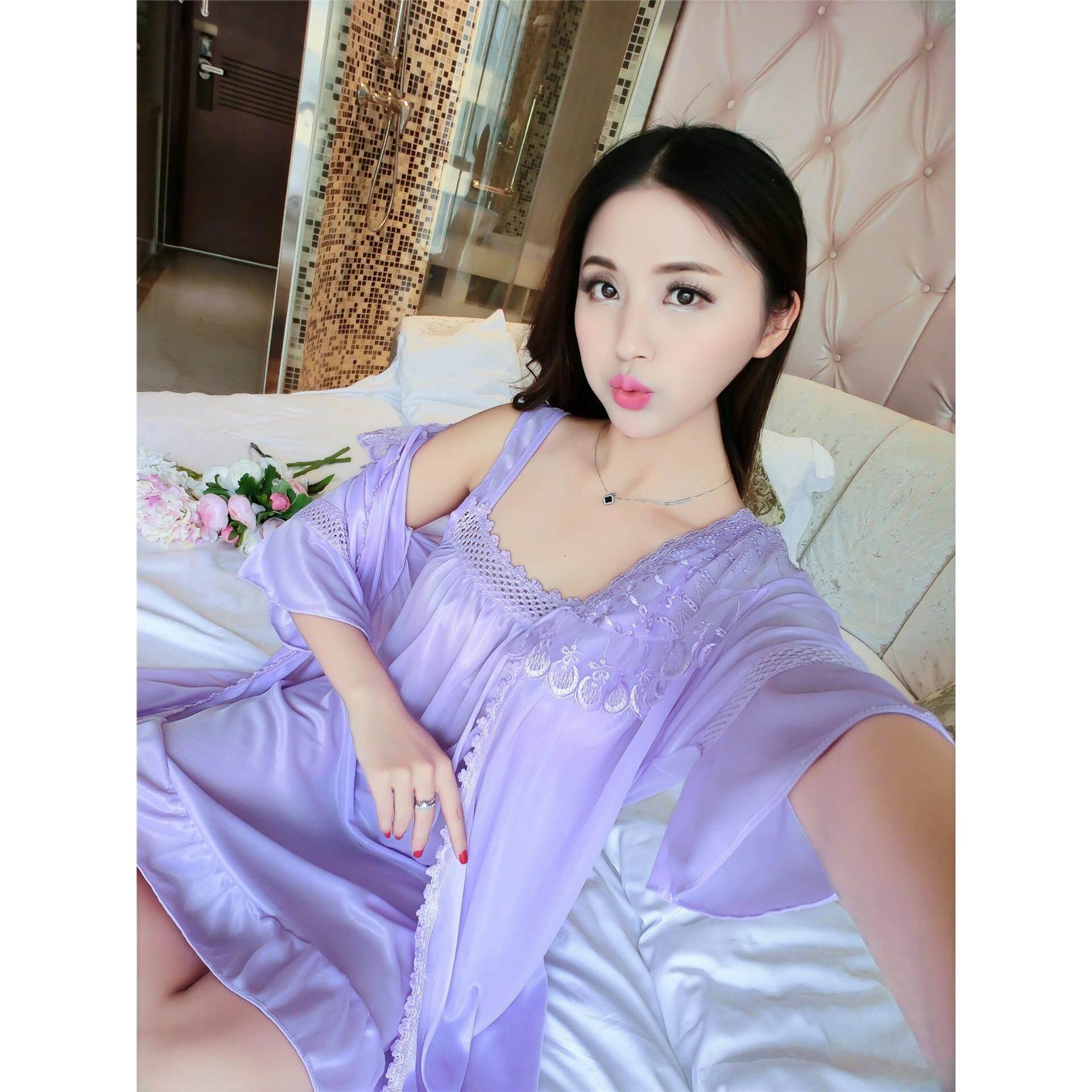 e5758f1c0 Bolster Store Sexy Lingerie Set Sleep Wear Silk Smooth Lace Flower Design  Comfortable Night Wear Pajamas Set of 2 ( Robe + Dress ) (Light Purple)