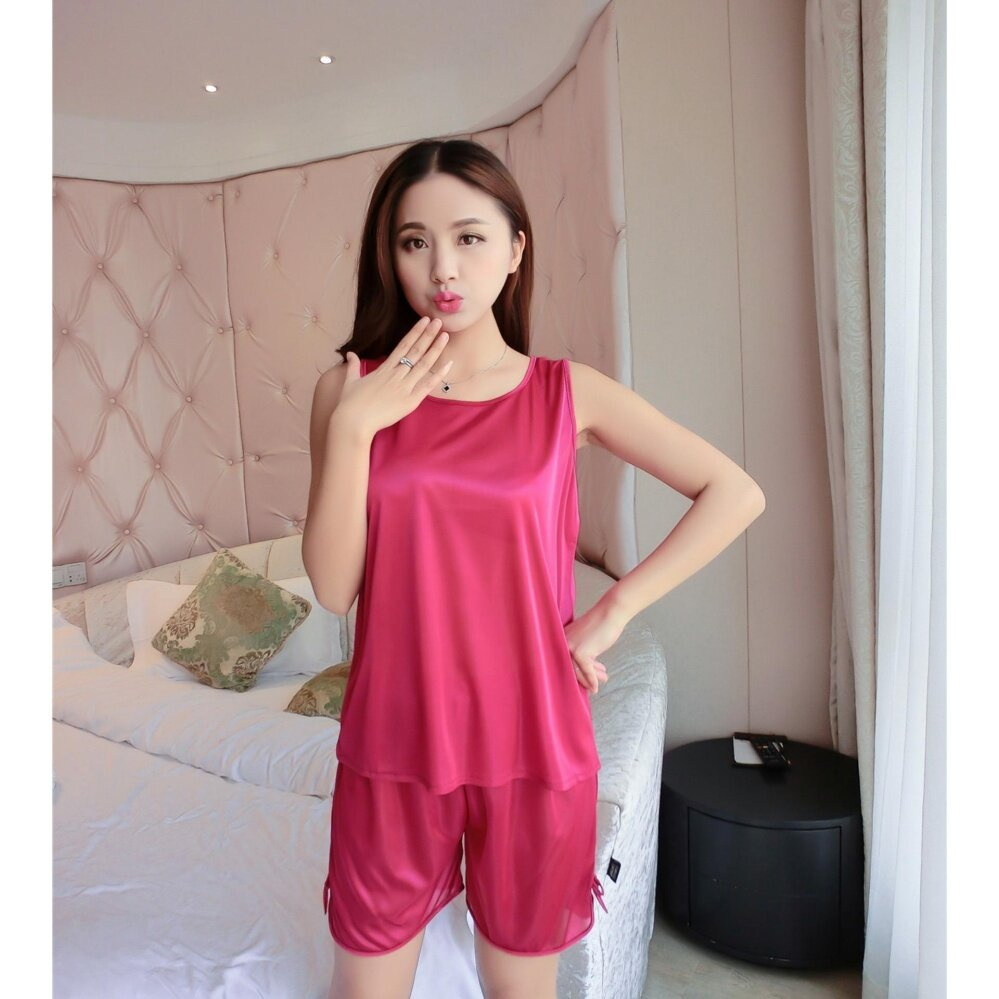 best later best quality Bolster Store Sexy Lingerie Sleepwear Sleeveless Silk Pajamas Set of 2  Blouse + Pants (Red)
