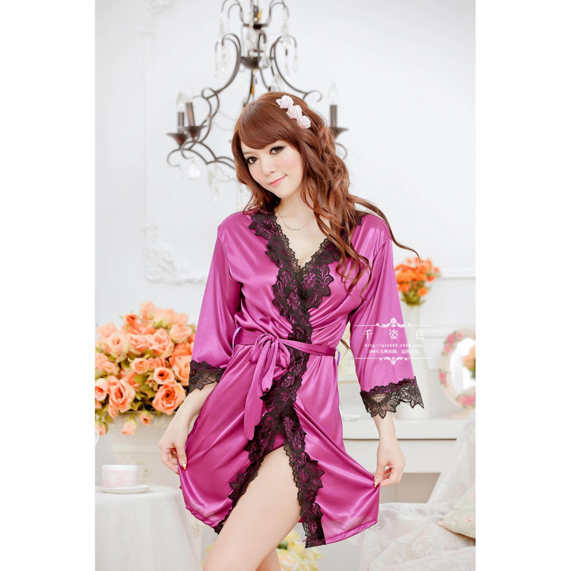 fc6849192 Bolster Store Women Ladies Japanese Silk Lace Robe Sexy Lingerie ...