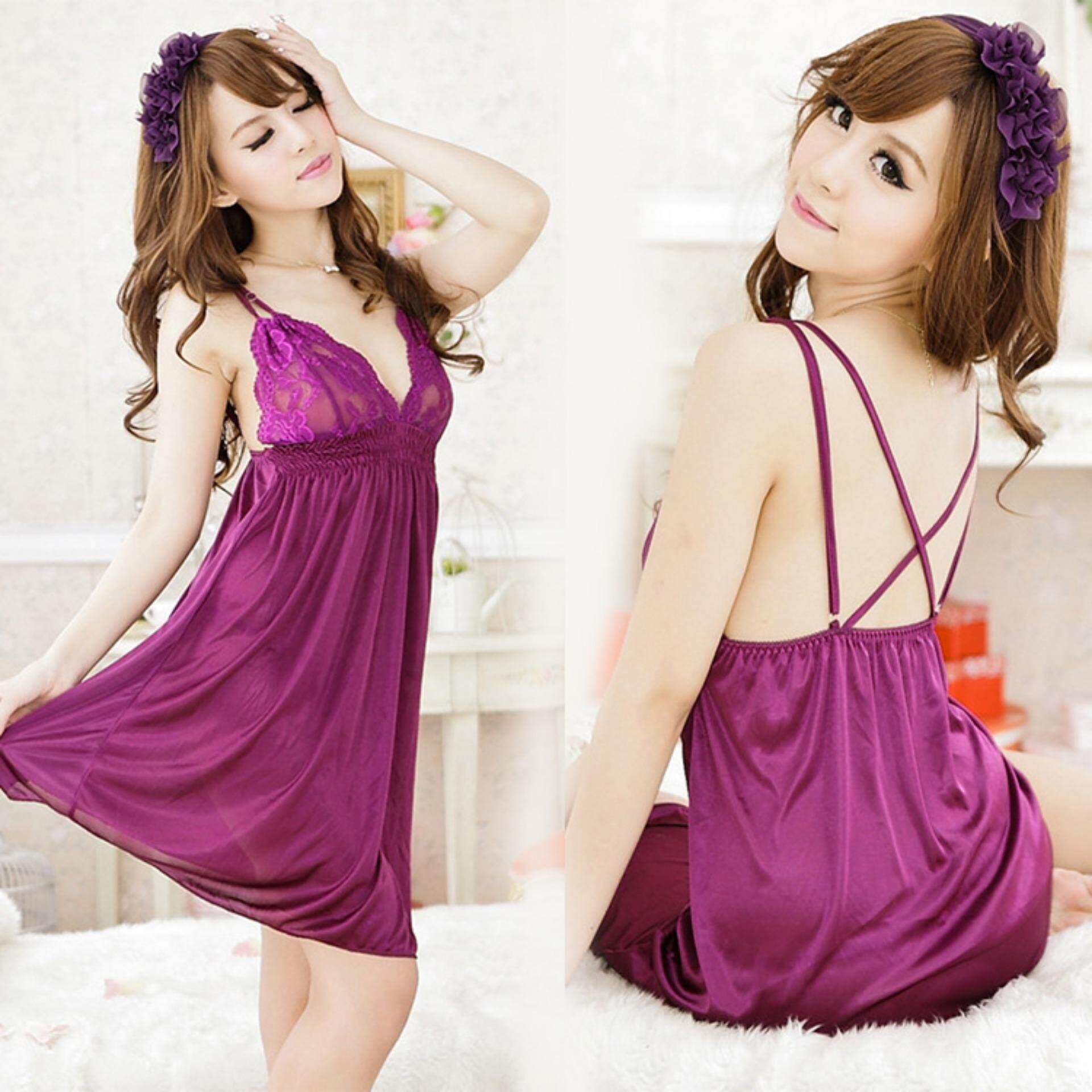 ec7c54aba Bolster Store Women Sexy Lingerie Lace V Deep Sleepwear Dress FREE G String  ( Purple )