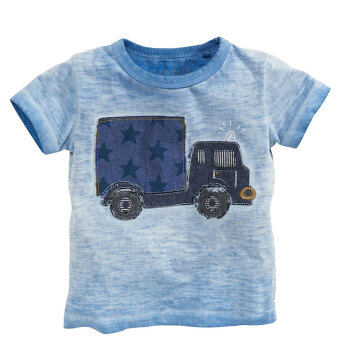 Boys male baby embroidered retro blue cotton short-sleeved t-shirt