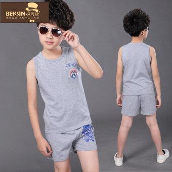 Boys' Two-piece Korean-style 100% Cotton Vest Short Pants Set (8502 gray)