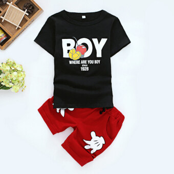 Boys' Two-piece Leisure Short Sleeve Shirt Short Pants Set (Boy black t-shirt + red pants)