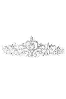 Bridal Pernikahan Tiara Mahkota Putri Kristal Austria Rambut Kekuatan Tinggi Hot (Perak)