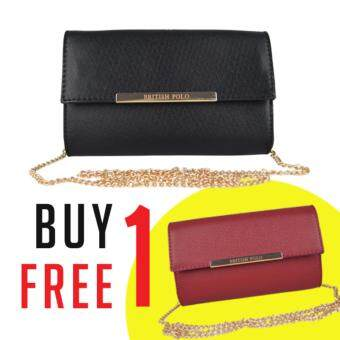 Harga British Polo Women Clutch Sling Bag (Black)