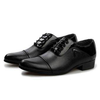 Harga British Style Mens Casual Leather Shoes Microfiber Leather BusinessShoes Men Formal Shoes Black