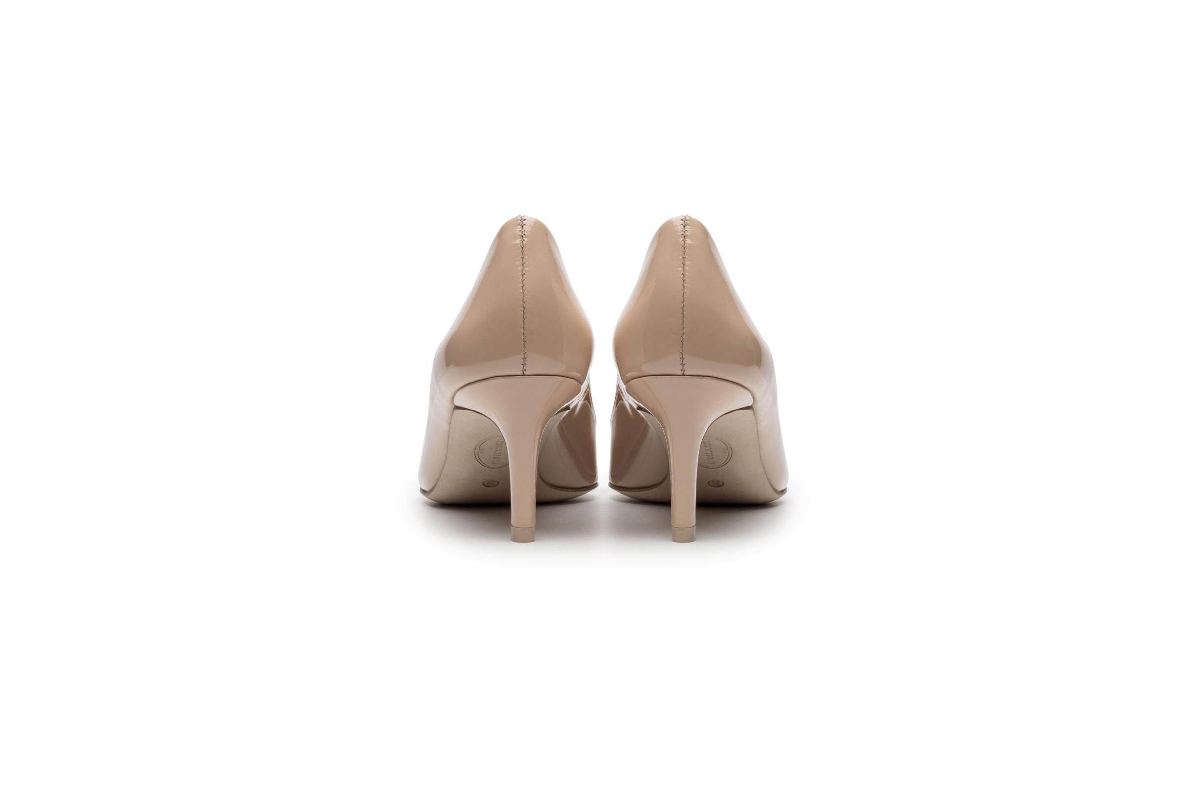 Butterfly Buckle Beige Patent Leather High Heel