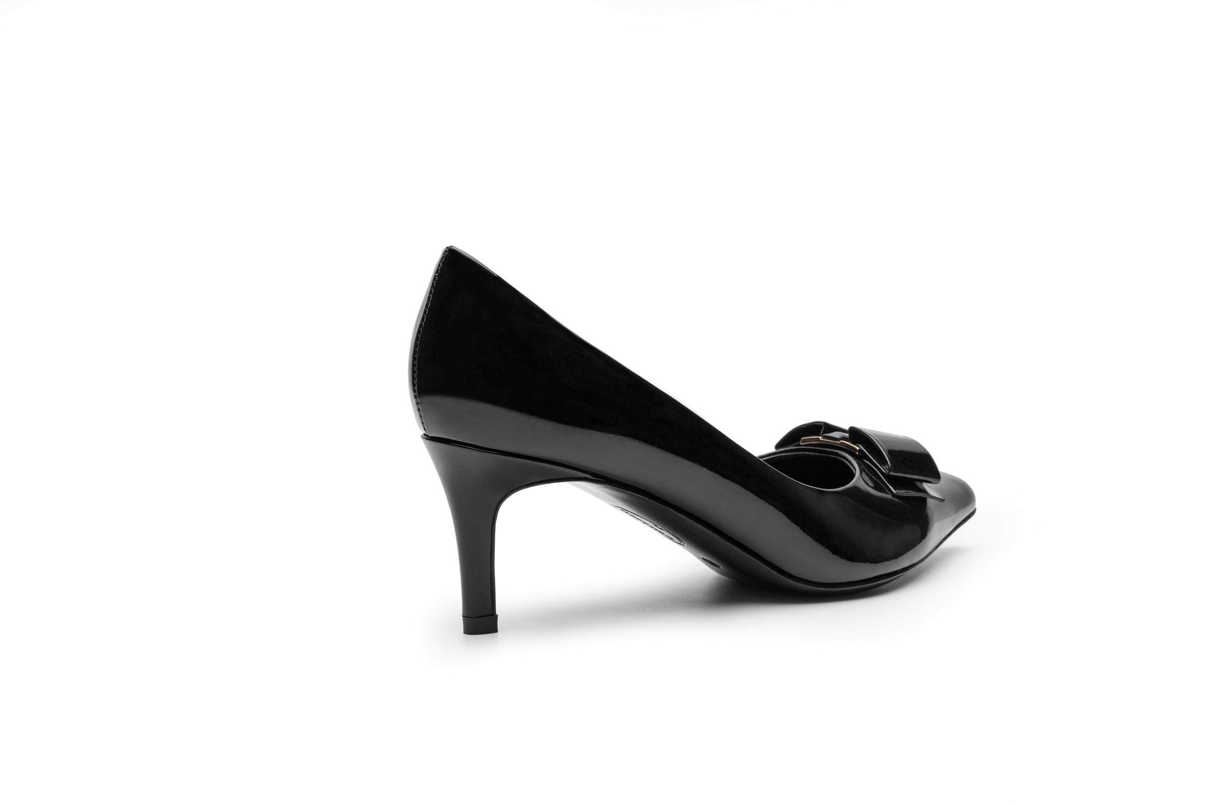 Butterfly Buckle Black Patent Leather High Heel