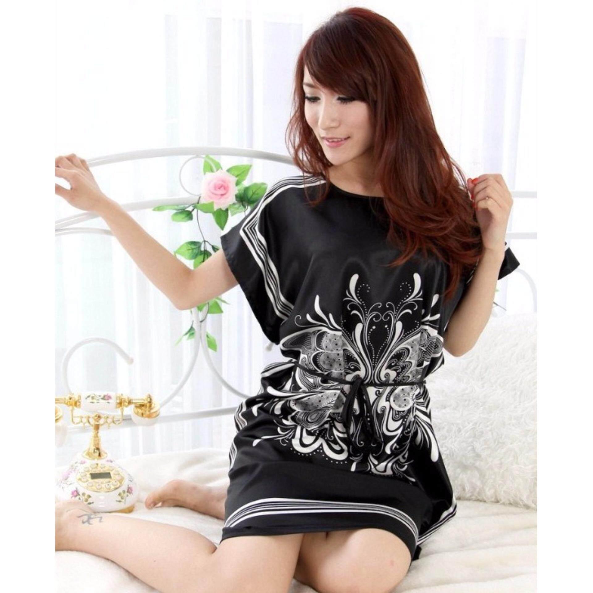 Butterfly Silk Night Wear - Black - 1pc
