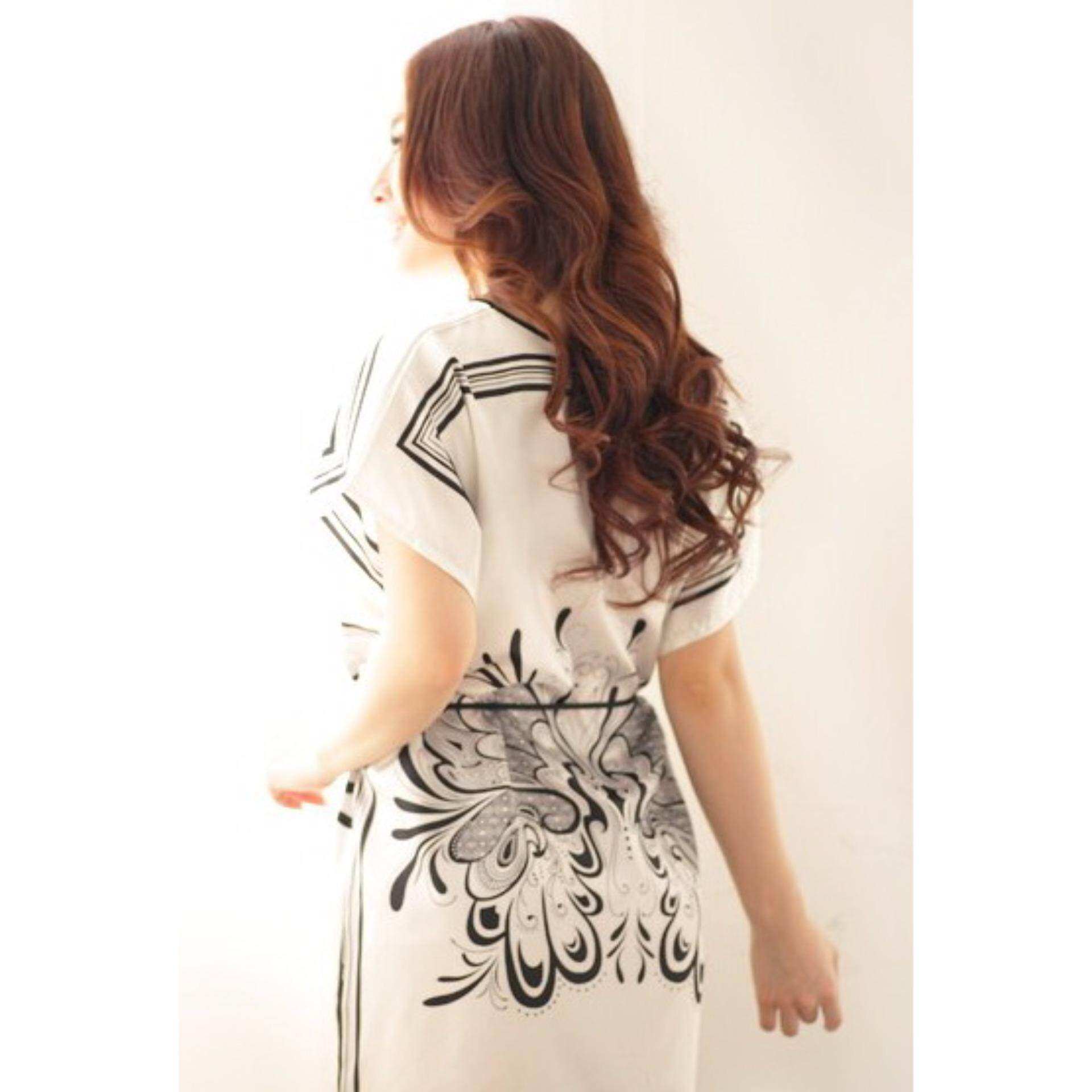 Butterfly Silk Night Wear  - White - 1pc