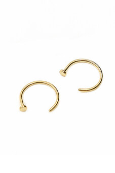 Buytra 2 Piece Stainless Steel Nose Open Hoop Ring Earring Studs Gold