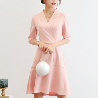 Caidaifei fashion slimming versatile bottoming dress Korean-style short sleeved dress (Pink) (Pink)