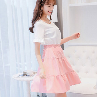 Caidaifei Korean-style spring and summer New style slimming versatile dress (Pink) (Pink)