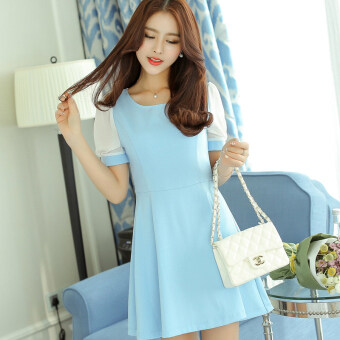 Caidaifei stitching Slim fit slimming short sleeved Korean-style bottoming dress women's dress (Sky blue) (Sky blue)
