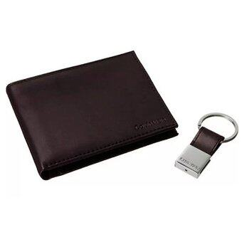 Harga Calvin Klein Brown Wallet with Leather Key Chain Suitable for Men