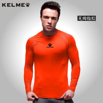 Carl us Plus velvet running training long-sleeved t-shirt slim fit clothing (Bright orange (thin))