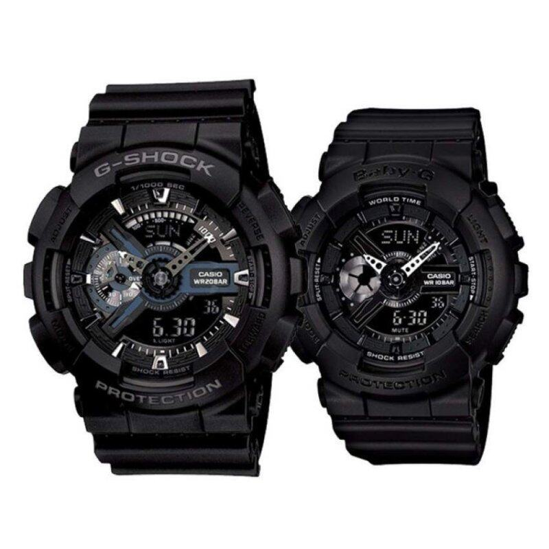 Casio G-Shock GA-110-1B and Baby G BA-110BC-1A Couple Resin Strap Watch Black Malaysia