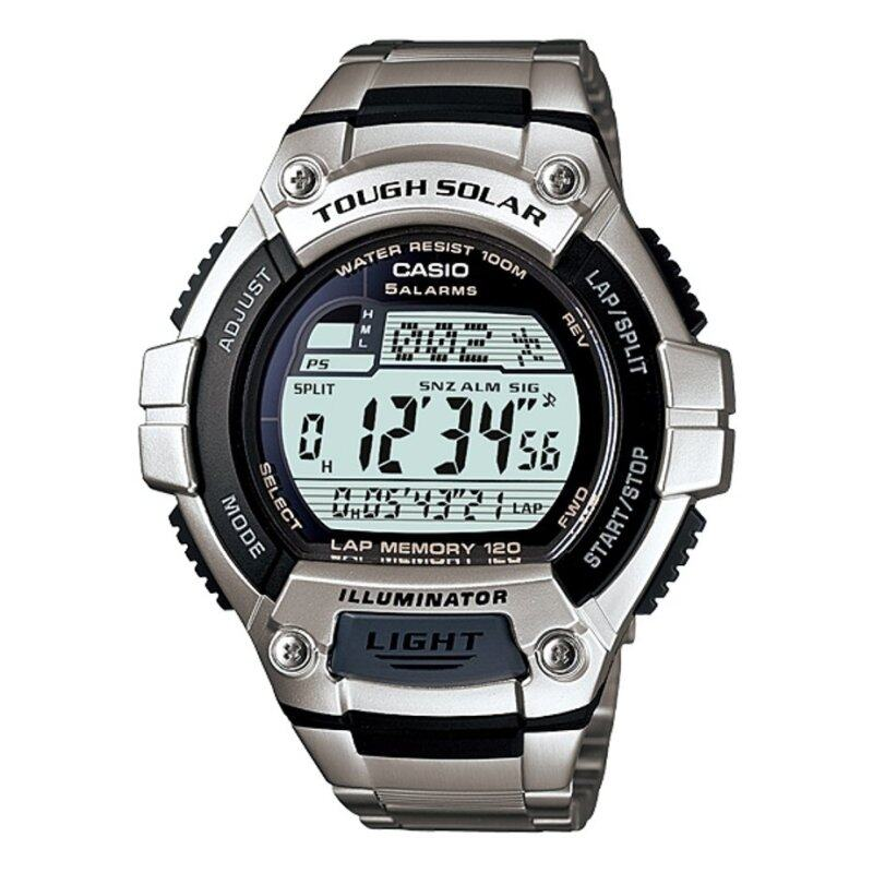 Casio Solar Powered W-S220D-1AV Tough Solar Mens Watch Silver Stainless Steel Band Malaysia