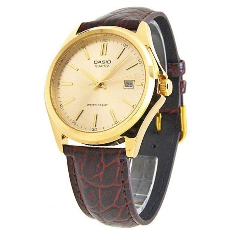 Casio STANDARD MTP-1183Q-9A Genuine Leather Band Mens Watch Gold Malaysia