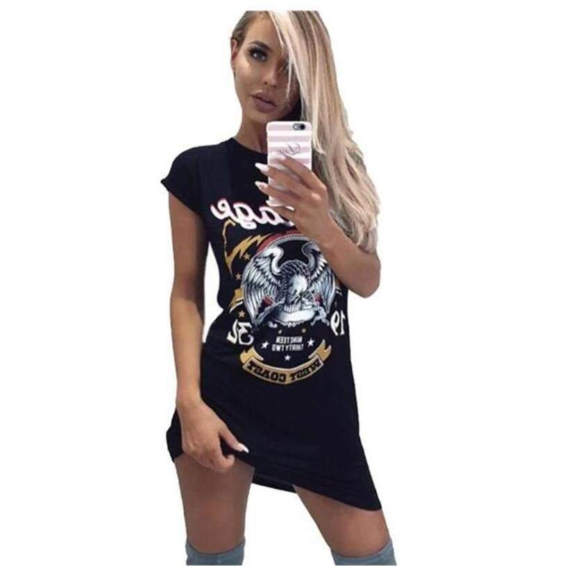 Kasual Kaus Gaun Wanita Musim Panas Hitam Gaun Wanita Seksi Lengan Pendek Punk Rock Eagle Cetak