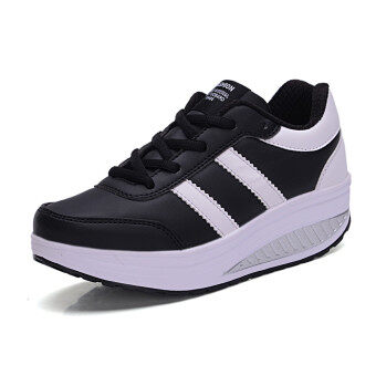 Harga Causal sport wave shoes shaping and increasing wedges-black