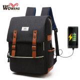 ซื้อ Charger Usb Line Big Size Unisex Canvas Waterproof Travel Sch**L Computer Bag Backpack Color First Pic Size 42X13X30Cm ถูก ใน จีน