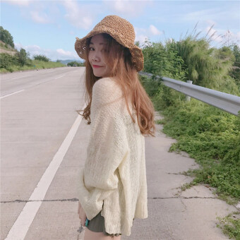 Chic Hong Kong flavor loose thin section long-sleeved sunprotection clothing knitted shirt (Beige) (Beige)