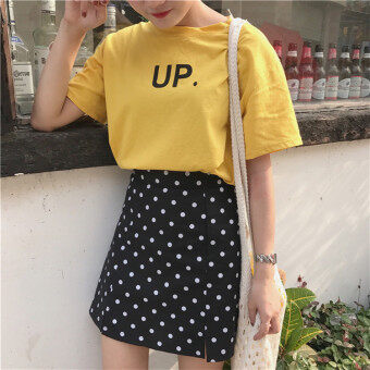 Chic Hong Kong Wind long section polka dot high waist a word skirt(Black)