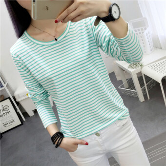 Chic Korean-style Spring and Autumn New style Plus-sized bottoming small shirt (000 * green striped)
