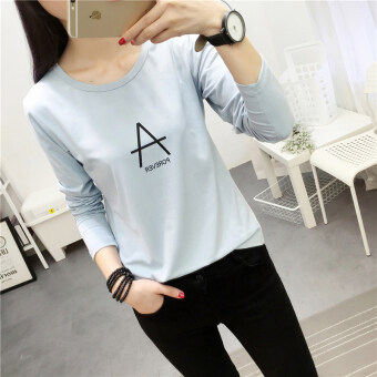 Chic Korean-style Spring and Autumn New style Plus-sized bottoming small shirt (178 * Blue)