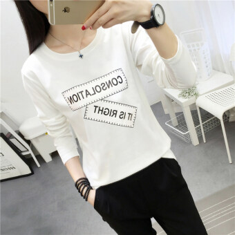 Chic Korean-style Spring and Autumn New style Plus-sized bottoming small shirt (181 * white)