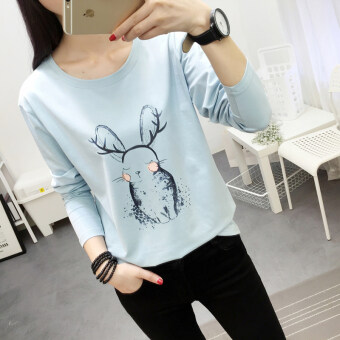 Chic Korean-style Spring and Autumn New style Plus-sized bottoming small shirt (183 * Blue)